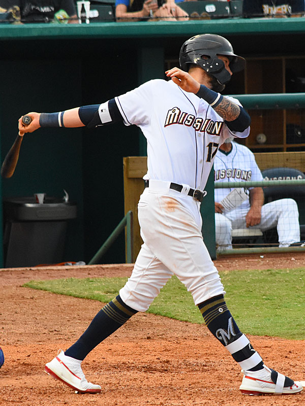 The San Antonio Missions' Lucas Erceg hit his 11th home run of the season Sunday at Wolff Stadium, a two-run shot in the fourth inning. - photo by Joe Alexander