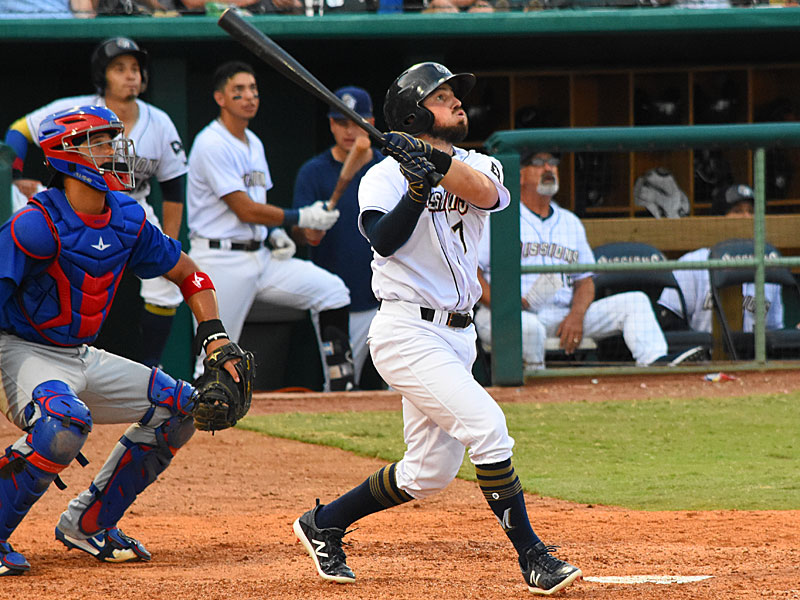 The San Antonio Missions' Blake Allemand hit his second home run of the season Sunday at Wolff Stadium, a solo shot in the seventh inning. - photo by Joe Alexander