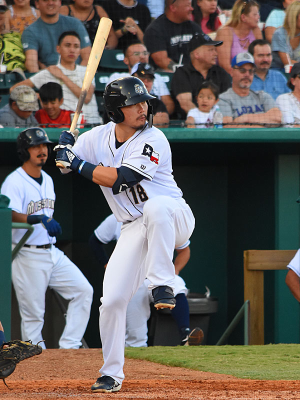 Missions second baseman Keston Hiura playing against the Tacoma Rainiers on Wednesday at Wolff Stadium. - photo by Joe Alexander