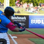 Tyler Saladino leads off the second inning with his 13th home run of the season Thursday at Wolff Stadium. - photo by Joe Alexander