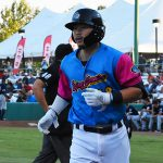 Keston Hiura hit his 14th and 15th Triple-A home runs of the season on Thursday at Wolff Stadium. - photo by Joe Alexander
