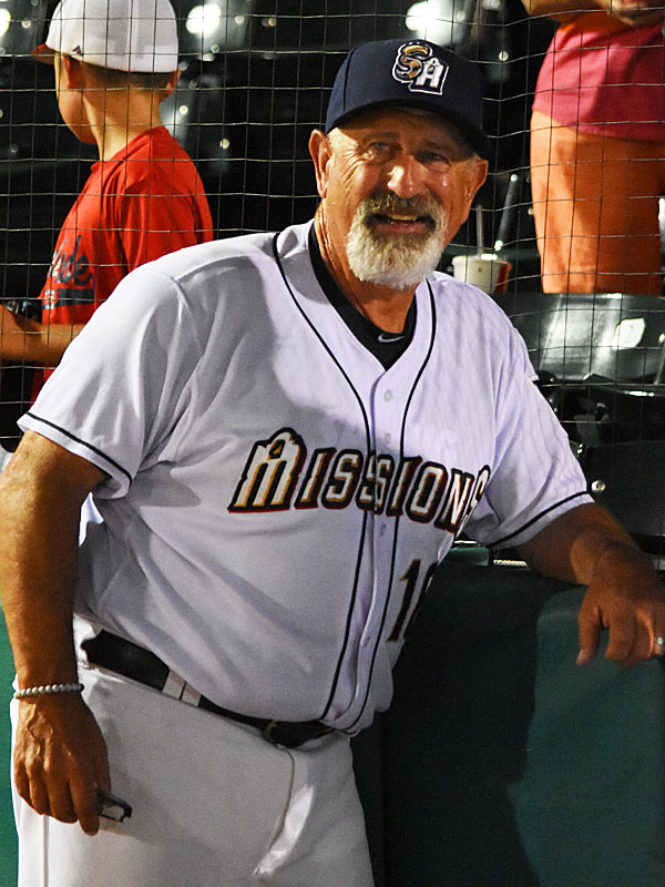 Missions manager Rick Sweet celebrates his 2,000 career win after Tuesday night's victory over Round Rock at Wolff Stadium. - photo by Joe Alexander