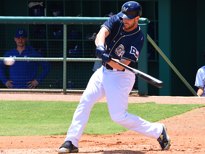 Travis Shaw batting for the San Antonio Missions on Sunday at Wolff Stadium in his final game before returning to the Milwaukee Brewers. - photo by Joe Alexander