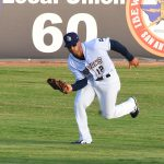 Missions outfielder Trent Grisham plays against the Round Rock Express in his first home series since joining San Antonio. - photo by Joe Alexander
