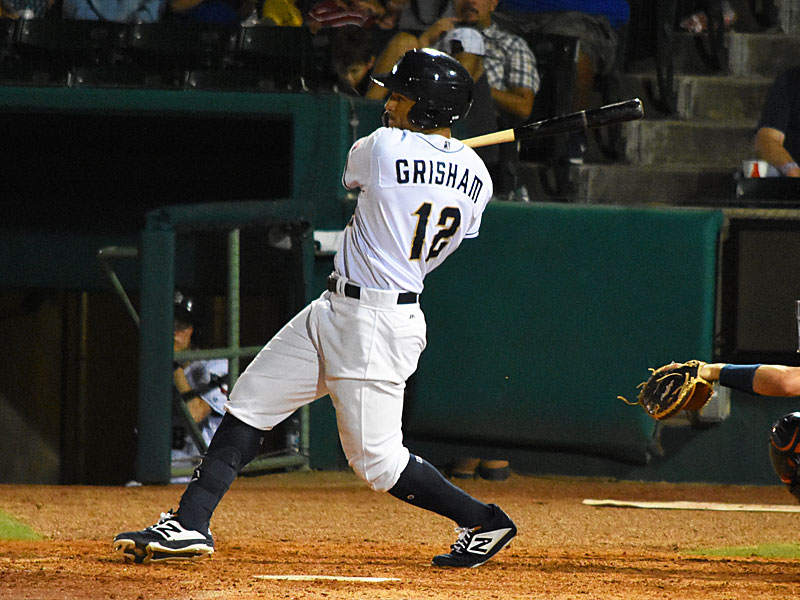 Missions outfielder Trent Grisham hits an eighth-inning home run against the Round Rock Express on Friday at Wolff Stadium. - photo by Joe Alexander
