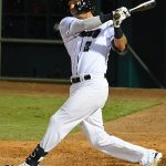 The Missions' Jake Hager drove in the winning run in the bottom of the eighth inning on Tuesday at Wolff Stadium. - photo by Joe Alexander