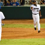 Missions closer Jay Jackson (right) celebrates with first baseman Lucas Erceg after getting the final out of the game on Tuesday at Wolff Stadium. - photo by Joe Alexander