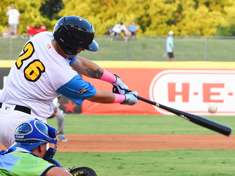 Hernan Perez hits an RBI double on Thursday in the Missions' 9-2 victory over the Omaha Storm Chasers at Wolff Stadium. - photo by Joe Alexander
