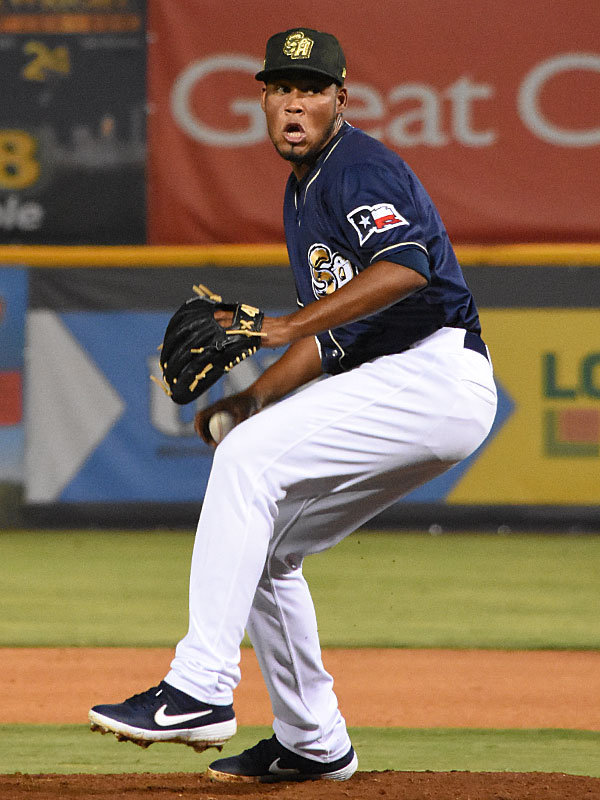 Miguel Sanchez pitching for the Missions at Wolff Stadium. - photo by Joe Alexander