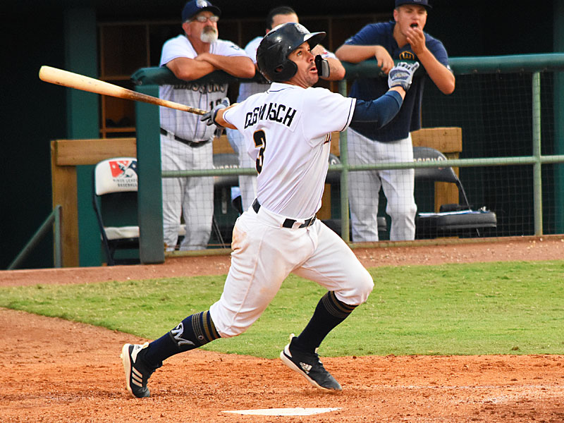 The Missions' Tuffy Gosewisch hits his second home run of the season Sunday at Wolff Stadium. - photo by Joe Alexander