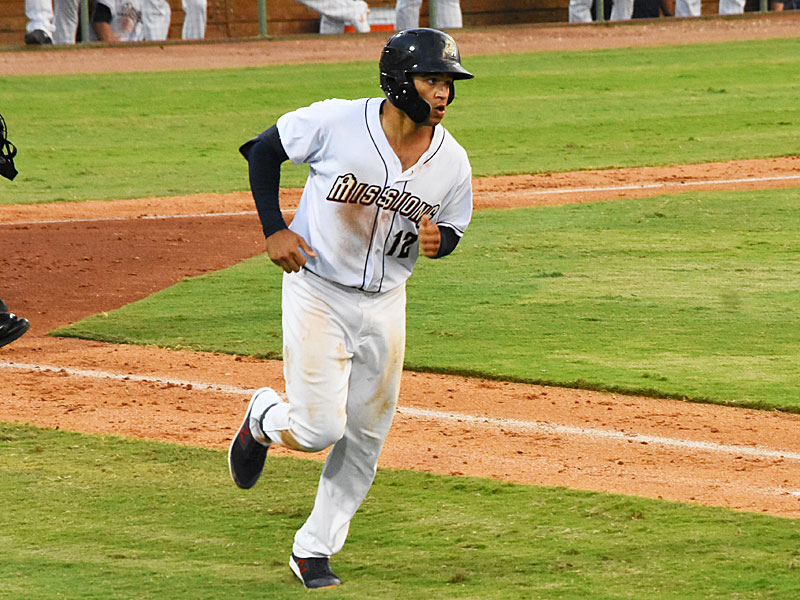 The Missions' Trent Grisham trots around the bases in the sixth inning after hitting his second home run of the game Sunday at Wolff Stadium. - photo by Joe Alexander