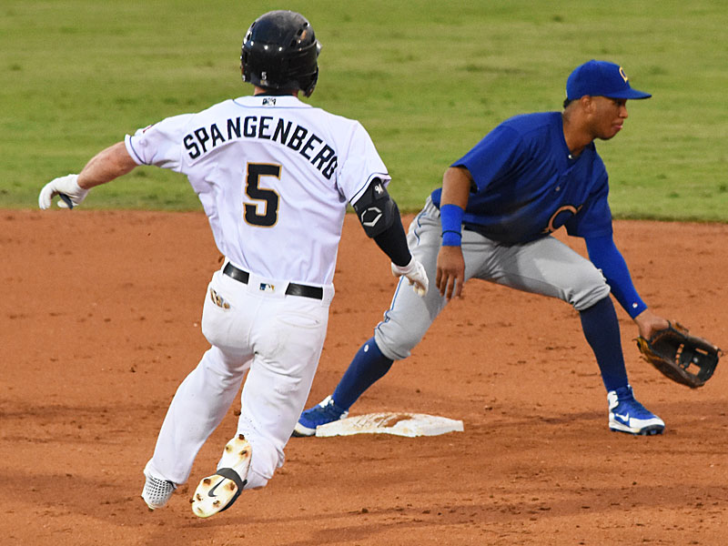 The Missions' Cory Spangenberg slides into second base on his 23rd double of the season Sunday at Wolff Stadium. - photo by Joe Alexander