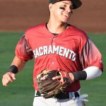 Former San Antonio Missions shortstop Mauricio Dubon playing for the Sacramento River Cats on Wednesday at Wolff Stadium in his first game after being traded. - photo by Joe Alexander
