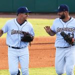 Hernan Perez (left) playing for the San Antonio Missions at Wolff Stadium this season. - photo by Joe Alexander