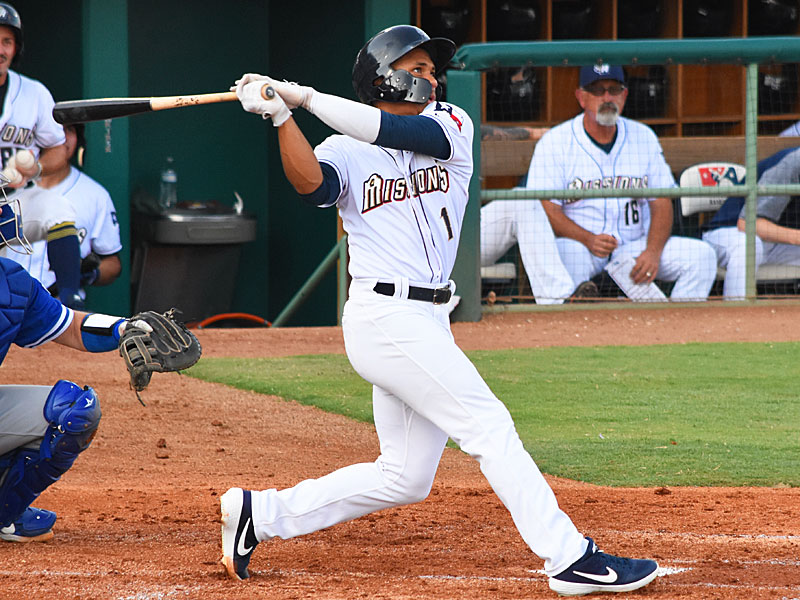The San Antonio Missions' Corey Ray hit his sixth home run of the season in the seventh inning on Sunday at Wolff Stadium. - photo by Joe Alexander