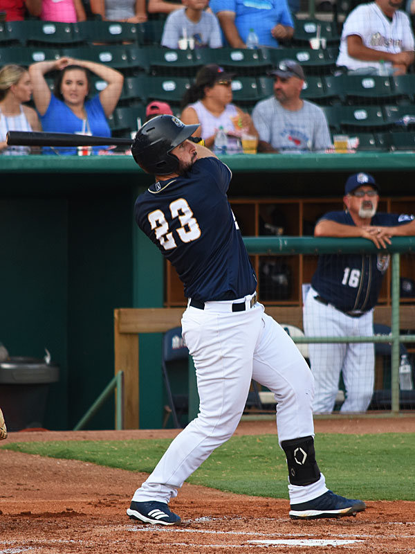The Missions' David Freitas hits a first-inning home run on Sunday at Wolff Stadium. - photo by Joe Alexander