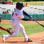 The Missions' Troy Stokes Jr. hit his eighth home run of the season in the fifth inning Monday afternoon at Wolff Stadium. - photo by Joe Alexander