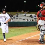 The Missions' Blake Allemand scores to tie the game in the 12th inning Saturday night at Wolff Stadium. - photo by Joe Alexander