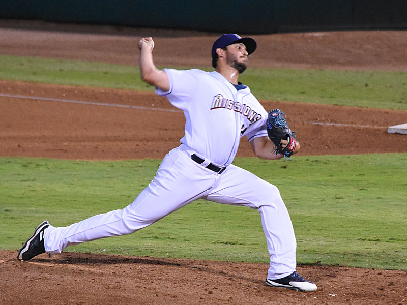 Jake Faria pitching for the Missions on Aug. 3 at Wolff Stadium. - photo by Joe Alexander