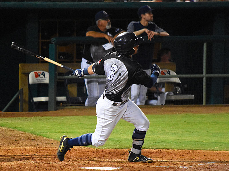 The San Antonio Missions' Nate Orf watches his fourth-inning grand slam sail out to left on Saturday at Wolff Stadium. - photo by Joe Alexander
