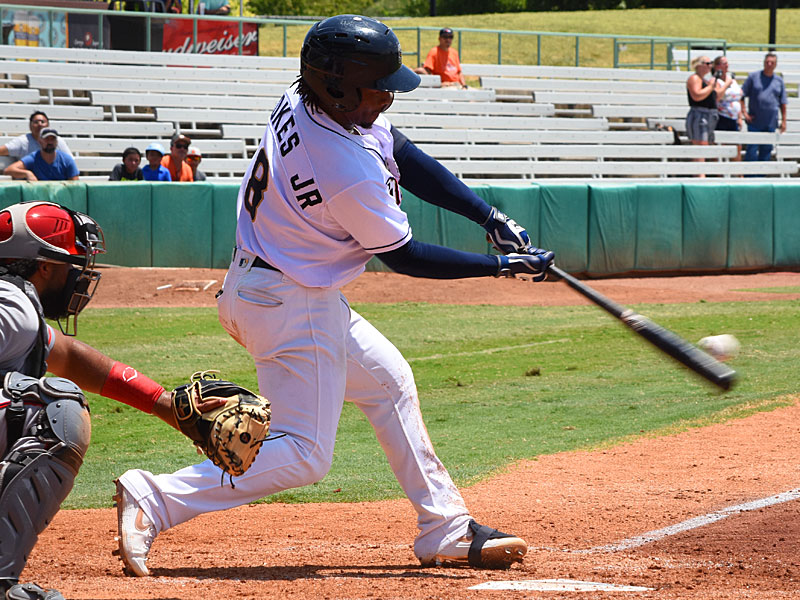 Missions outfielder Troy Stokes Jr. hits a fifth-inning home run against Fresno on Monday at Wolff Stadium. - photo by Joe Alexander