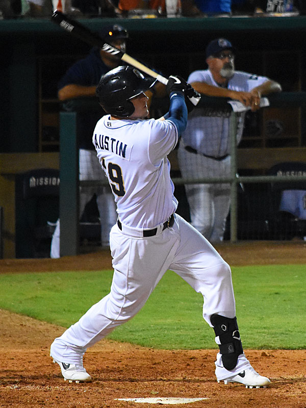 Tyler Austin bats at Wolff Stadium on Friday in his first game with the San Antonio Missions. - photo by Joe Alexander