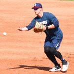 Tyler Austin takes some infield practice Friday at Wolff Stadium before the San Antonio Missions game. - photo by Joe Alexander