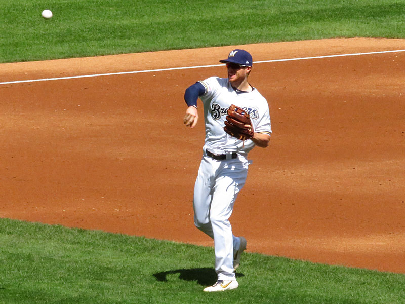 Former San Antonio Missions infielder Cory Spangenberg playing for the Milwaukee Brewers on Wednesday, Aug. 28, 2018 at Miller Park. - photo by Joe Alexander