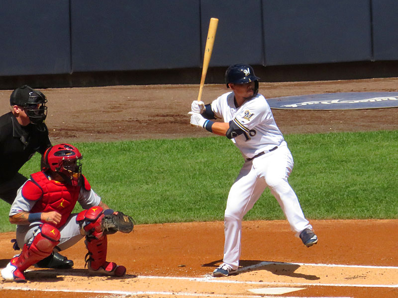 Former San Antonio Missions second baseman Keston Hiura playing for the Milwaukee Brewers on Wednesday, Aug. 28, 2018 at Miller Park. - photo by Joe Alexander