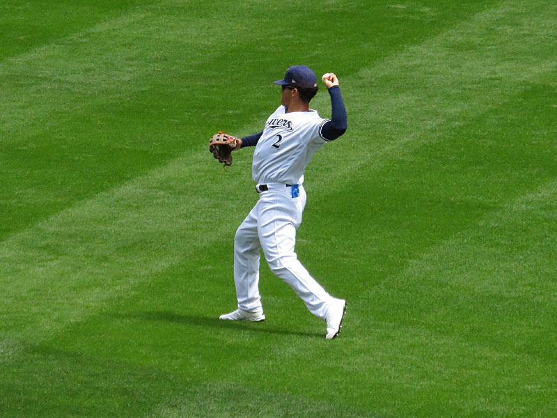 Former San Antonio Missions outfielder Trent Grisham playing for the Milwaukee Brewers on Wednesday, Aug. 28, 2018 at Miller Park. - photo by Joe Alexander