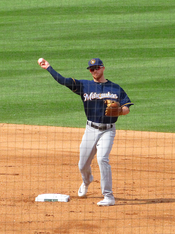 Former San Antonio Missions infielder Cory Spangenberg playing for the Milwaukee Brewers against the Chicago Cubs on Aug. 30, 2019, at Wrigley Field. - photo by Joe Alexander