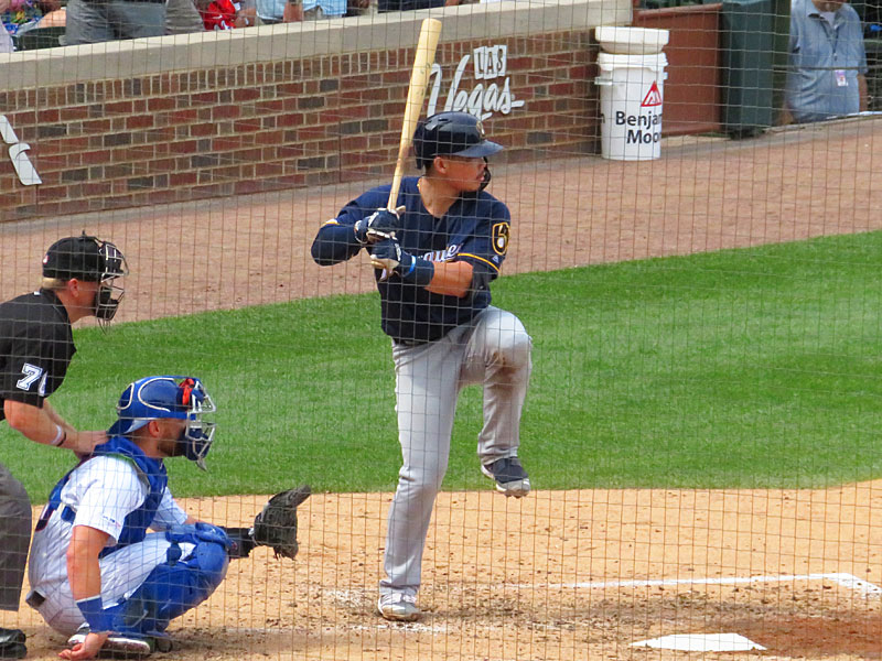 Former San Antonio Missions second baseman Keston Hiura playing for the Milwaukee Brewers against the Chicago Cubs on Aug. 30, 2019, at Wrigley Field. - photo by Joe Alexander