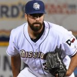 Luke Barker. 2019 San Antonio Missions season at Wolff Stadium. - photo by Joe Alexander