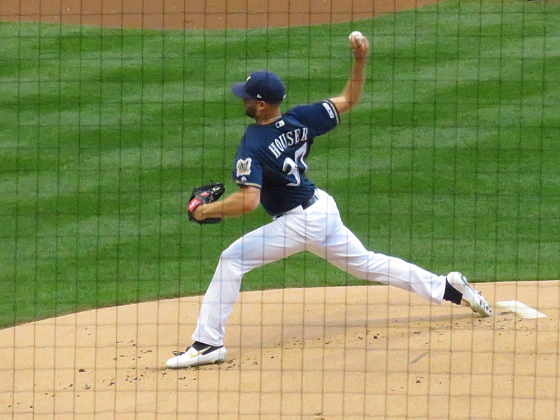 Former San Antonio Missions pitcher Adrian Houser playing for the Milwaukee Brewers on Aug. 27 at Miller Park. - photo by Joe Alexander
