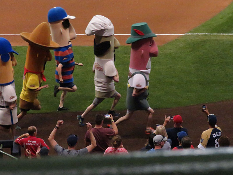 The sausage race at Miller Park in Milwaukee. - photo by Joe Alexander