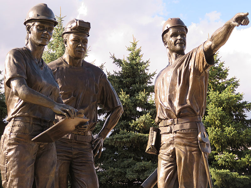 Monument honoring the workers who built Miller Park in Milwaukee. - photo by Joe Alexander