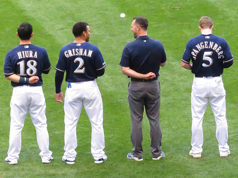 Former San Antonio Missions players Keston Hiura, Trent Grisham and Cory Spangenberg in uniform for the Milwaukee Brewers on Aug. 27 at Miller Park. - photo by Joe Alexander