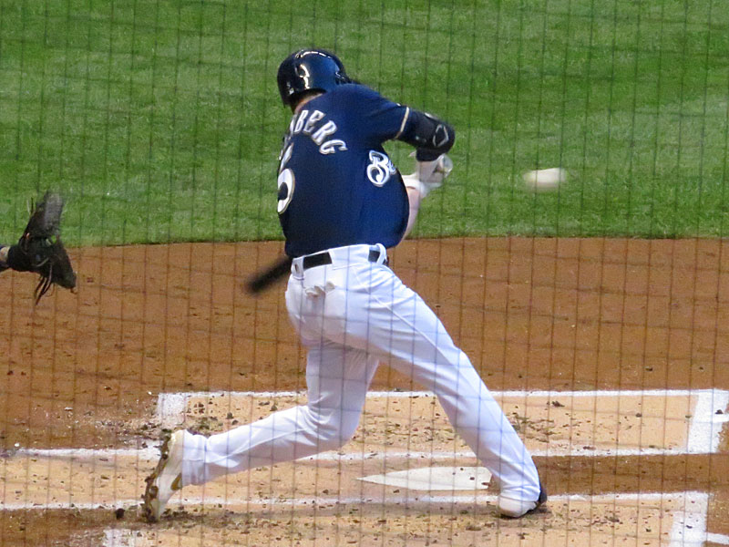 Former San Antonio Missions infielder Cory Spangenberg playing for the Milwaukee Brewers on Aug. 27 at Miller Park. - photo by Joe Alexander