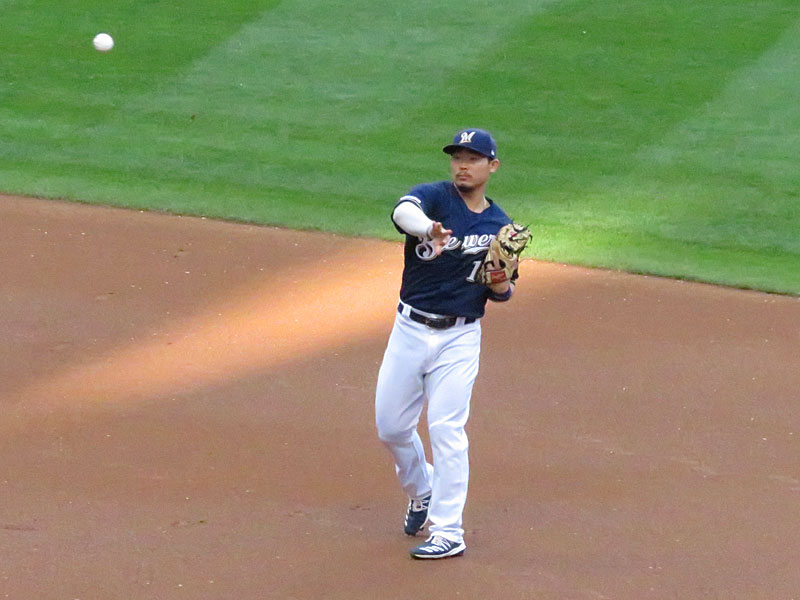 Former San Antonio Missions second baseman Keston Hiura playing for the Milwaukee Brewers on Aug. 27 at Miller Park. - photo by Joe Alexander