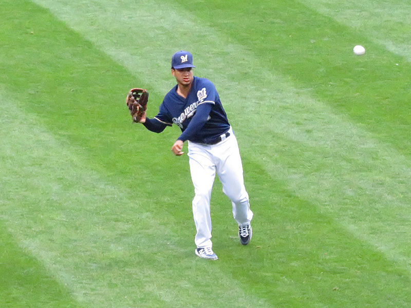 Former San Antonio Missions outfielder Trent Grisham playing for the Milwaukee Brewers on Aug. 27 at Miller Park. - photo by Joe Alexander