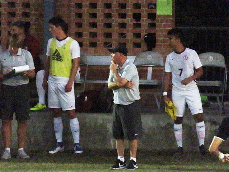 Trinity soccer coach Paul McGinlay earned his 500th career victory Friday night when the men's team beat Texas Lutheran 4-0 at Trinity. - photo by Joe Alexander