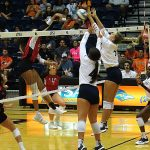 Madeline McKay, Hannah Lopez. UTSA beat Incarnate Word on Tuesday, Sept. 17, 2019, at the UTSA Convocation Center.
