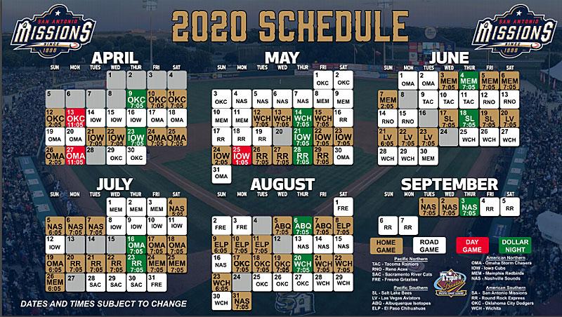 San Antonio Missions 2020 schedule