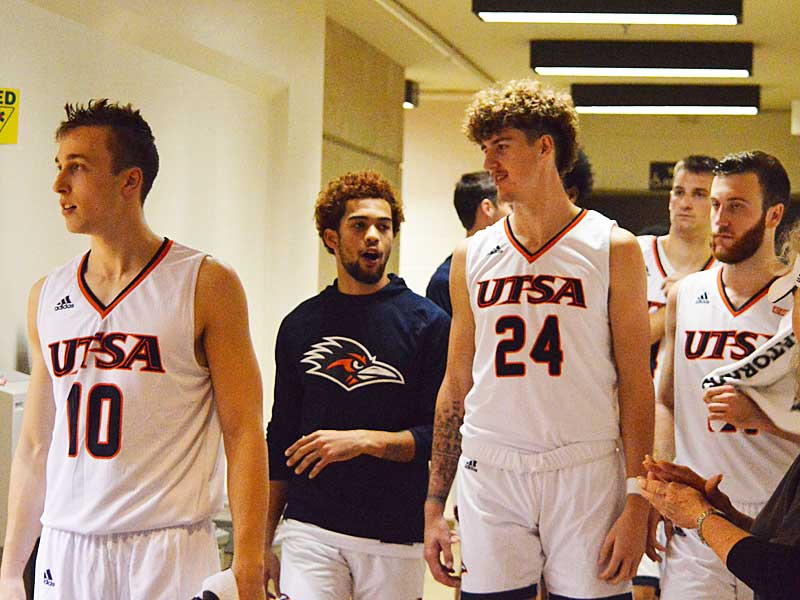 UTSA's Erik Czumbel (10), Makani Whiteside (5), Jacob Germany (24), Luka Barisic (44) and Knox Hellums (21). The Roadrunners beat Texas A&M International 89-60 in an exhibition game on Wednesday, Oct. 30. 2019 at the UTSA Convocation Center. - photo by Joe Alexander