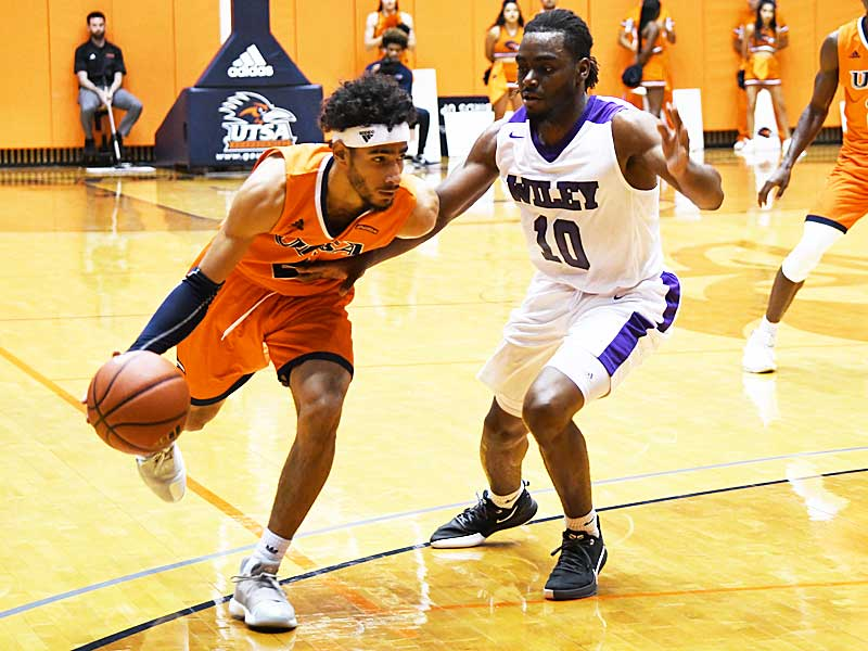 Jhivvan Jackson made a team-high five 3-pointers and scored 31 points in UTSA's victory over Wiley College on Nov. 22, 2019 at the UTSA Convocation Center. - photo by Joe Alexander