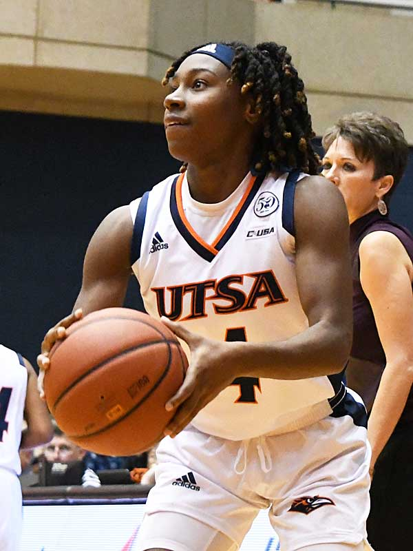 Mikayla Woods led UTSA with 32 points and 11 rebounds in Sunday's loss to Sam Houston State. - photo by Joe Alexander