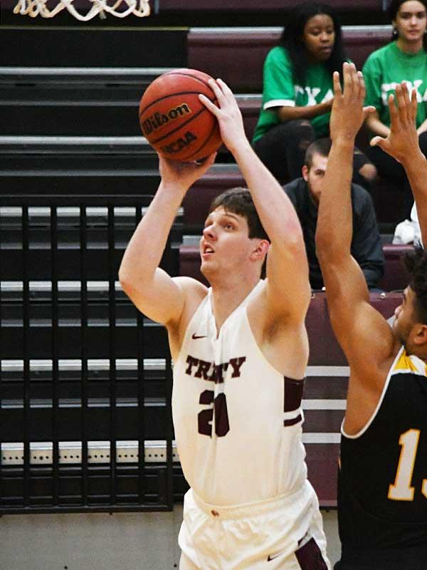 Carter Laramore. Trinity beat Texas Lutheran 87-79 in men's basketball on Friday at Trinity. - photo by Joe Alexander