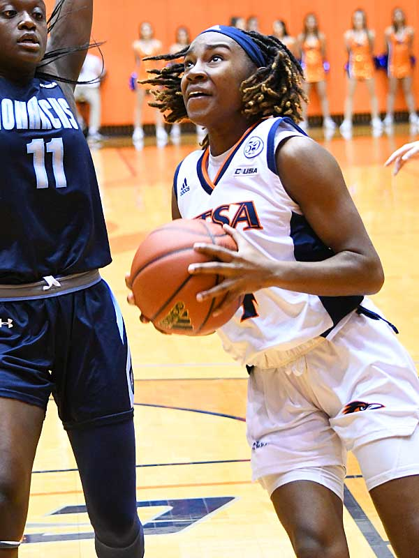 Mikayla Woods led UTSA with 11 points. Old Dominin beat UTSA in CUSA women's basketball on Thursday at UTSA. - photo by Joe Alexander