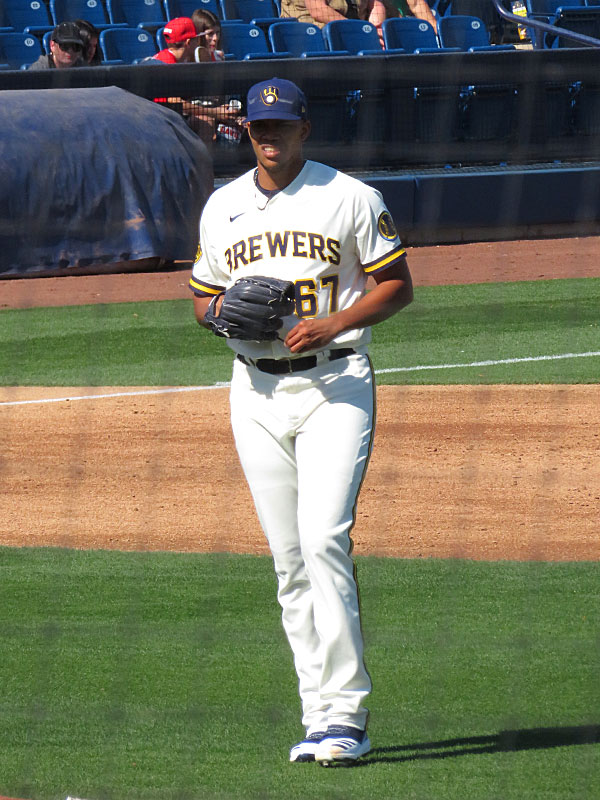 The Brewers' Angel Perdomo, who pitched for the San Antonio Missions in 2019, on the mound for a spring training game on Feb. 24 at American Family Fields of Phoenix. - photo by Joe Alexander