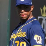 The Brewers' Corey Ray in right field in a spring training game Feb. 26 at Scottsdale Stadium. - photo by Joe Alexander